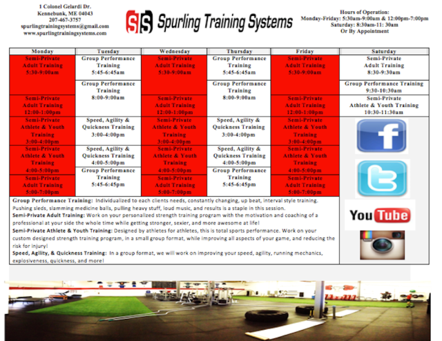 Our Training Session Schedule